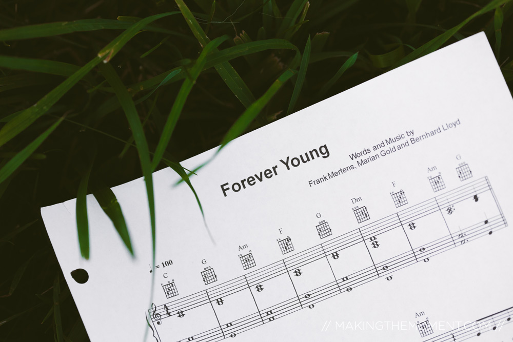 Sheet Music in Grass Forever Young