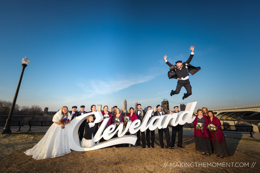 Winter Wedding Cleveland Sign Photographer