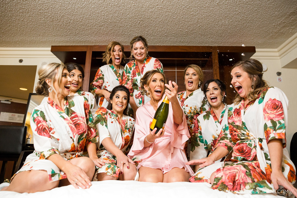 Bridesmaids Champagne Getting Ready Cleveland Photographer