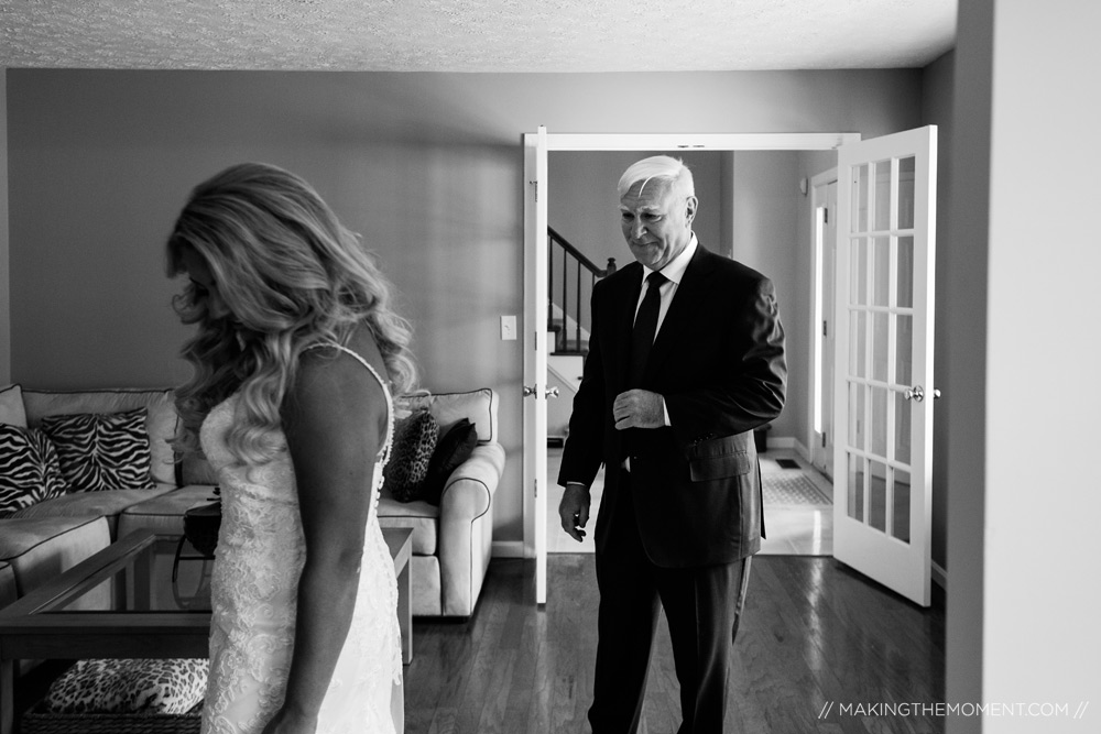 Candid Father First Look Cleveland Wedding