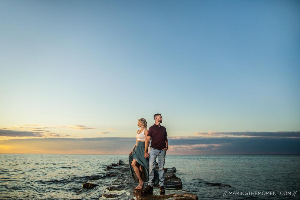 Edgewater Sunset Engagement Session Cleveland Photographer