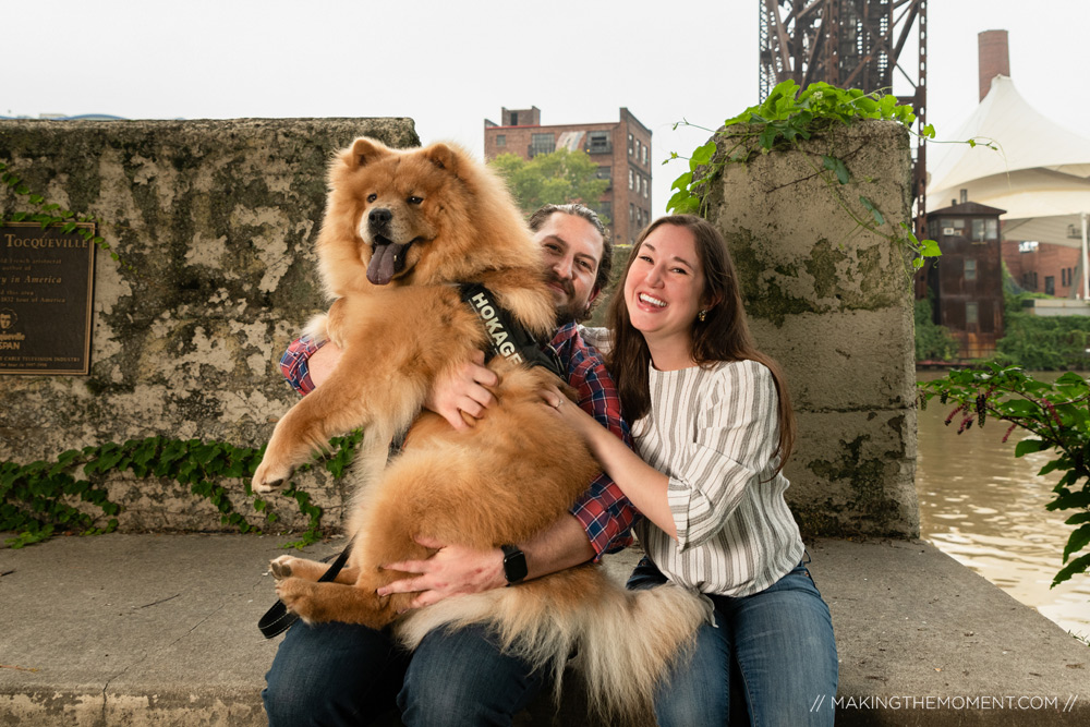 Fun Dog Engagement Session Downtown Cleveland