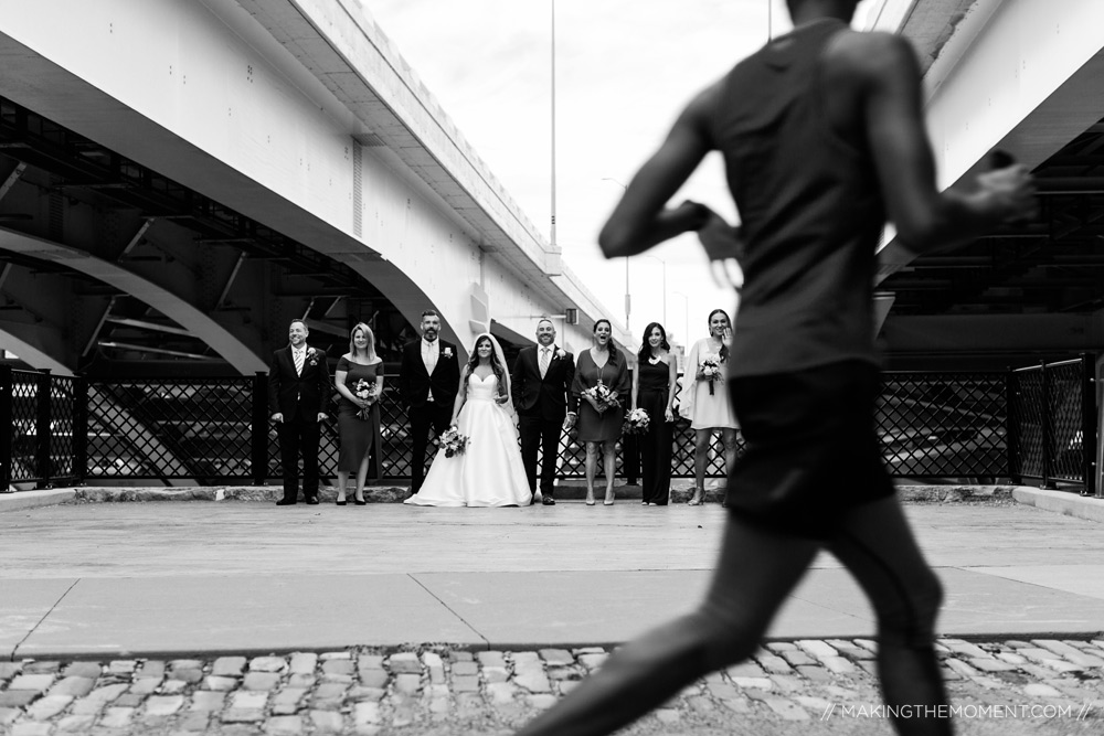 Fun Candid Bridal Party Downtown Cleveland