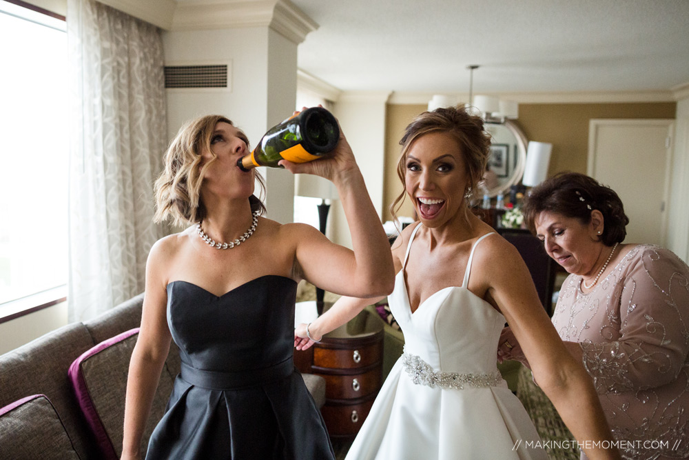 Bridal Party Champagne Cleveland Photographer
